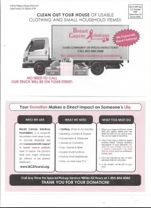 Clothing / Housewares Donations – Breast Cancer Solutions